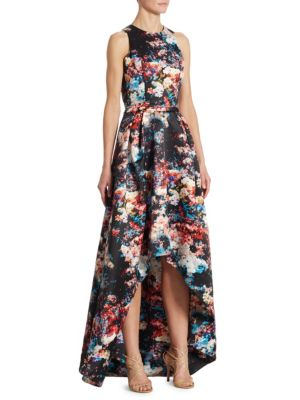 Floral-Print Hi-Lo Gown