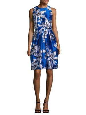 Leaf Print Jacquard Cocktail Dress