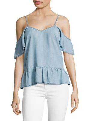 Mitzi Chambray Cold Shoulder Top by PAIGE
