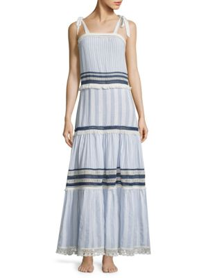 Mixed Voile Tie Layered Dress