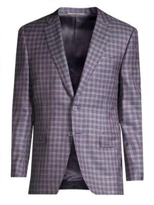 Plaid Wool, Silk & Linen Sportcoat