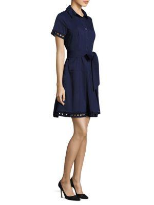 Cutout Trimmed Shirt Dress