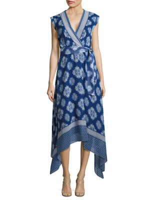 Catrina Asymmetric Print Wrap Dress