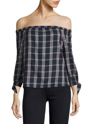 Antonia Plaid Off-the-Shoulder Top by PAIGE
