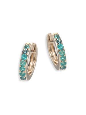 Mini Halo Emerald & 14K Yellow Gold Hoop Earrings