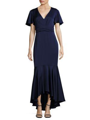 MIDNIGHT Cape Sleeve Hi-Lo Flounce Gown