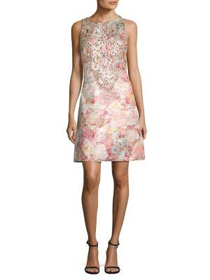 Jeweled Floral Brocade Dress 0400094025737