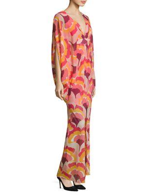 Blossom Stretch-Silk Caftan Gown