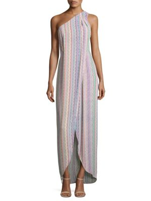 Dries Printed One-Shoulder Gown