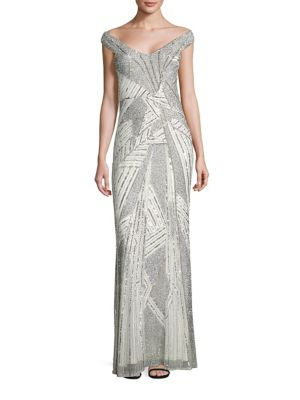 Lynn Sequined Off-The-Shoulder Gown
