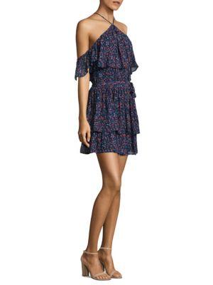 Darya Off-the-Shoulder Floral Silk Dress