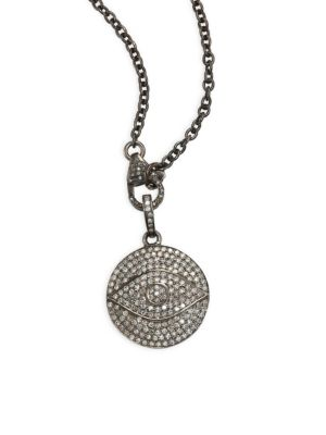 NINA GILIN Diamond Evil Eye Pendant Necklace