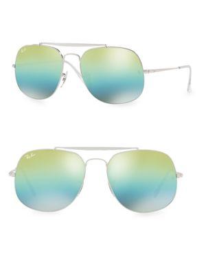 57mm General Mirrored Aviator Sunglasses