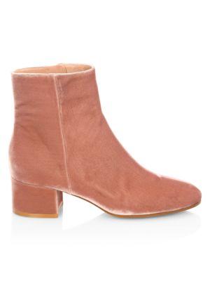 Velvet Block Heel Booties