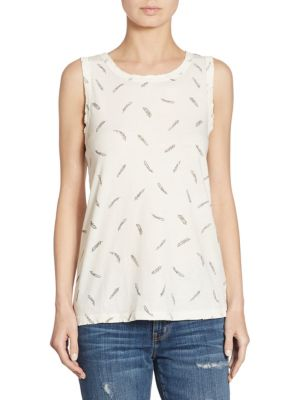 Feather Printed Muscle Tee by Current/Elliott