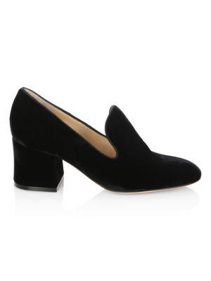 Velvet Loafer Block Heel Pumps