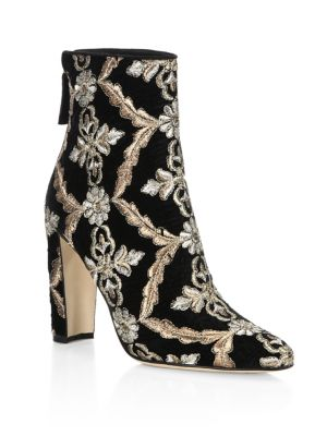 Isola 105 Embroidered Velvet Booties