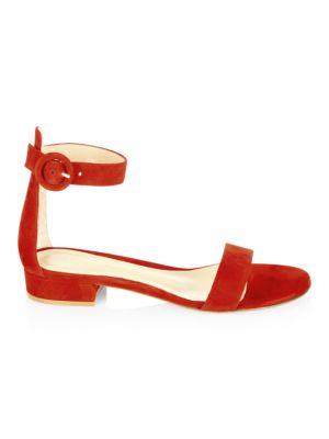 Portofino Suede Ankle-Strap Flat Sandals