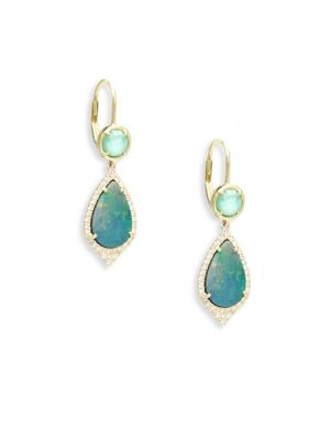 Diamond, Turquoise, Opal & 14K Yellow Gold Drop Earrings