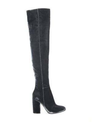 Velvet Over-The-Knee Block Heel Boots
