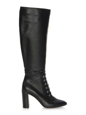 Lace-Up Leather Knee-High Boots