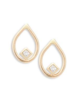 Diamond & 14K Yellow Gold Open Teardrop Stud Earrings