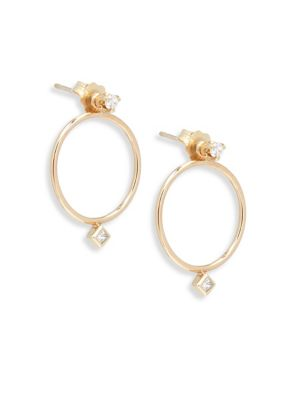 Diamond & 14K Yellow Gold Stud Earring & Circle Ear Jacket Set