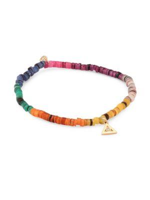 Small Diamond & Rainbow Heishi Beaded Bracelet