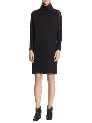 Lace Sleeve Sweatshirt Dress