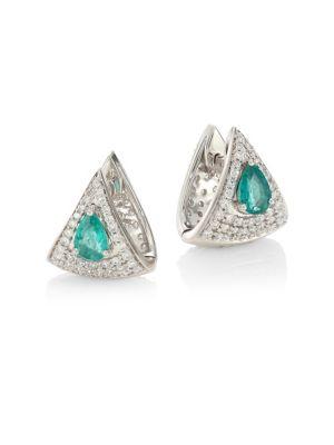 HUEB Spectrum 18K White Gold, Diamond & Emerald Earrings