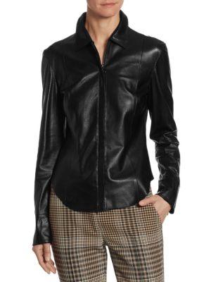 Perforated Leather Shirt by Akris punto