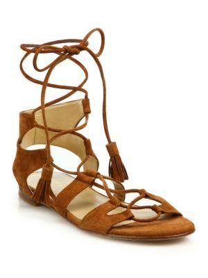 Roman Suede Flat Sandals