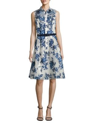 Belted Floral-Print Shirtdress