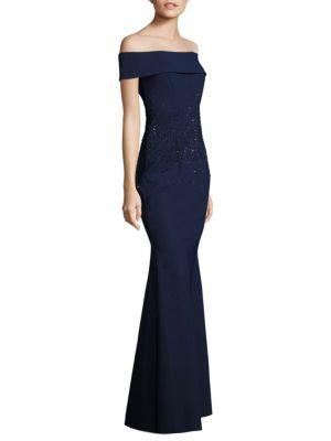 Scuba Embellished Off-The-Shoulder Gown
