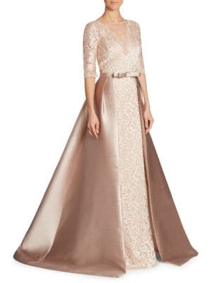 Illusion V-Neck Lace Gown