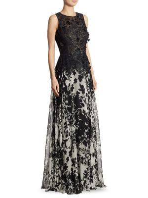 Peplum Lace & Silk Chiffon Gown