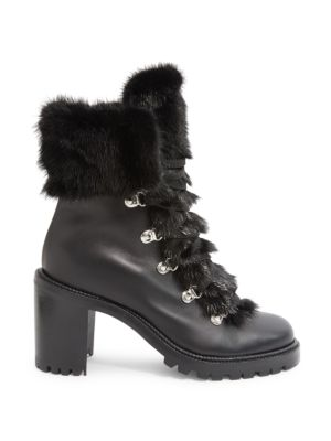 Fanny 70 Fur & Leather Lace-Up Booties