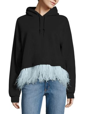 Feather-Trim Cropped Hooded Sweatshirt