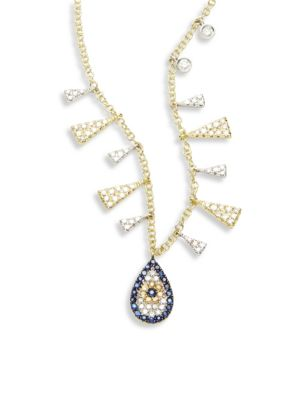 Evil Eye Diamond, Blue Sapphire & 14K Two-Tone Gold Pendant Necklace