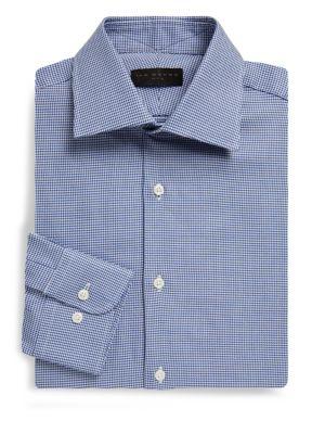 Regular-Fit Houndstooth Dobby Cotton Dress Shirt