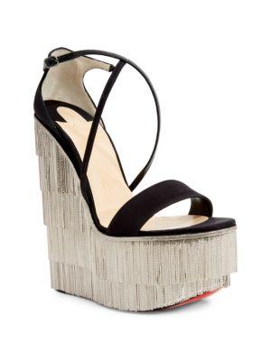 Foxtrottissima 160 Satin & Metallic Fringe Platform Wedge Sandals