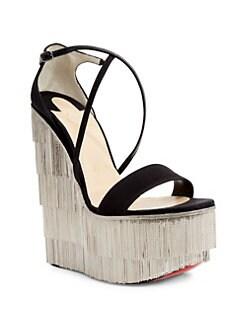 Christian Louboutin - Foxtrottissima 160 Satin \u0026 Metallic Fringe Platform  Wedge Sandals