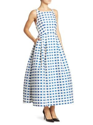 Checkered Crisscross Back Dress