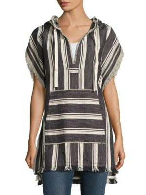 Asmid Striped Cotton & Linen Poncho