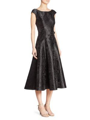 Rose Jacquard Jewel-Buckle Dress