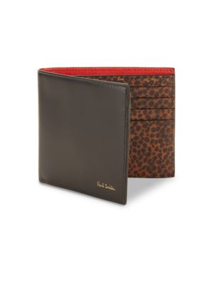 Animal-Print Leather Billfold Wallet