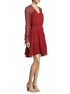 Silk Long Sheer Sleeve Dress