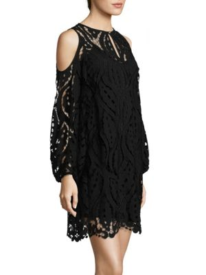 Lace Sheer Cold-Shoulder Dress