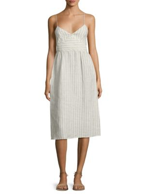 Melaena B Striped Linen Dress