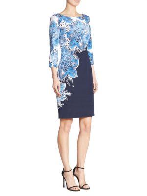 Lotus-Print Sheath Dress
